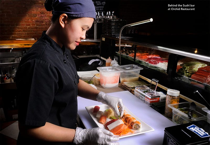 Behind Sushi Bar at Orchid Restaurant Lewiston Maine