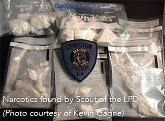 Narcotics found by k9 officer scout of the Lewiston Maine Police Department